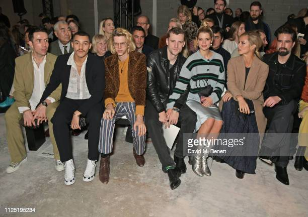 Nick Grimshaw Meshach Henry Bunny Kinney George Barnett Pixie Geldof Laura Bailey and Jack Guinness attend the ALEXACHUNG show during London Fashion...