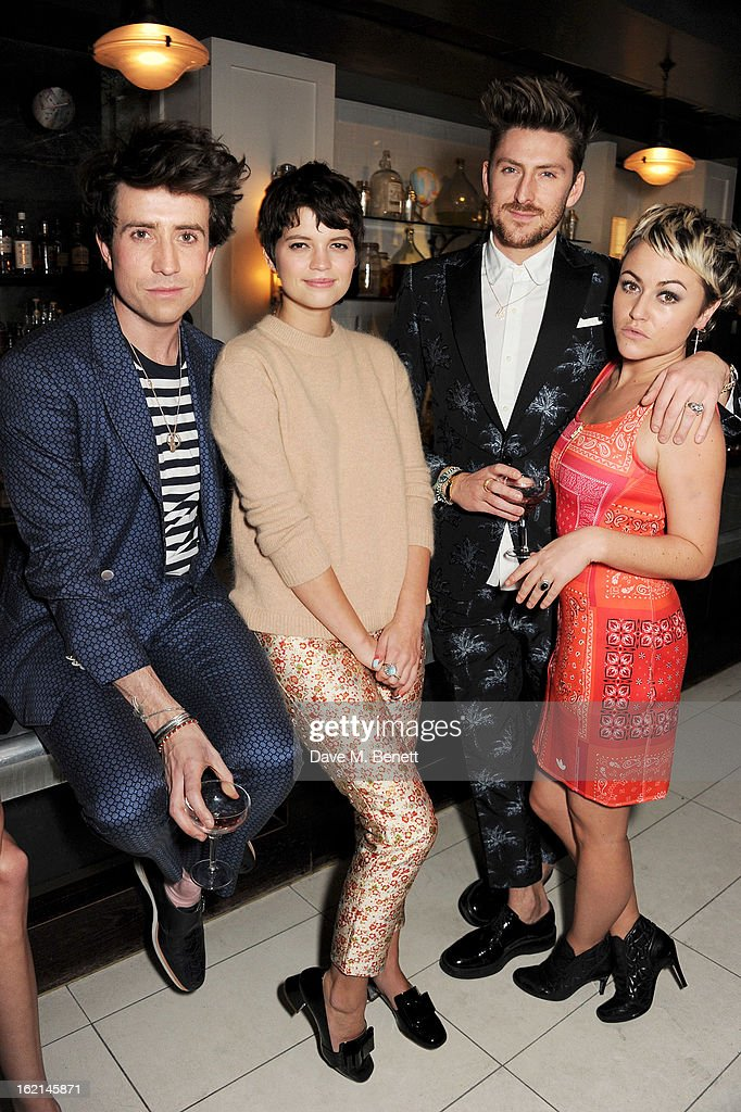 Nick Grimshaw, Pixie Geldof, Henry Holland and Jaime Winstone attend as Nick Grimshaw hosts his first annual award season dinner at Hix, in association with Philips Sound, on February 19, 2013 in London, England.