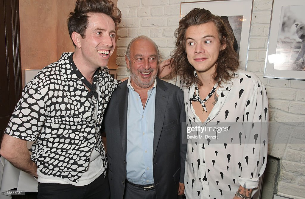 Nick Grimshaw, Sir Philip Green and Harry Styles attend a private dinner celebrating the launch of the Nick Grimshaw for TOPMAN collection at Odette's Primrose Hill on June 4, 2015 in London, England.