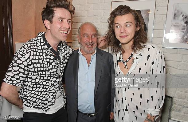 Nick Grimshaw Sir Philip Green and Harry Styles attend a private dinner celebrating the launch of the Nick Grimshaw for TOPMAN collection at Odette's...