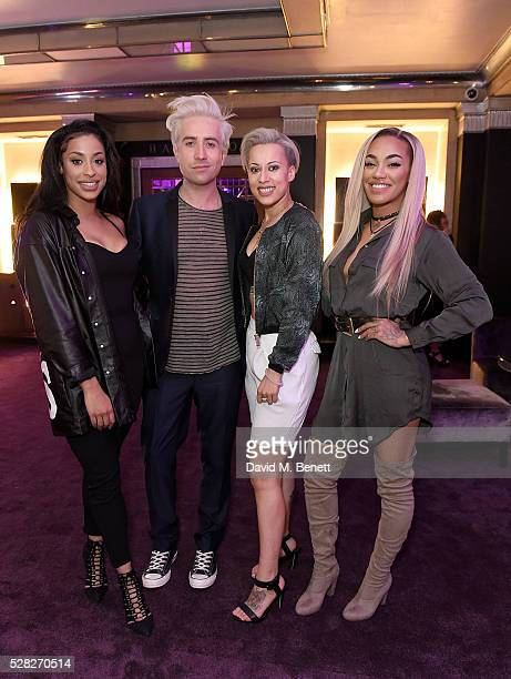 Nick Grimshaw with girlband Stooshe at The London Cabaret Club launch party at The Bloomsbury Ballroom on May 4 2016 in London England