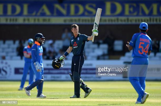 Nick Gubbins of England Lions celebartes reaching his century during the TriSeries International match between England Lions and India A at The 3aaa...
