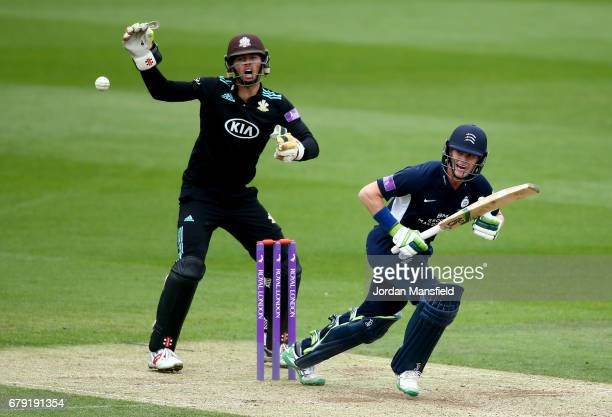 Nick Gubbins of Middlesex bats as Ben Foakes of Surrey reacts during the Royal London OneDay Cup match between Surrey and Middlesex at The Kia Oval...