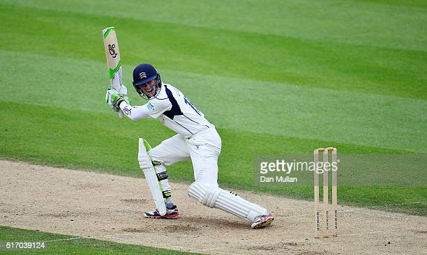 Nick Gubbins of Middlesex bats during day two of the preseason friendly between Surrey and Middlesex at The Kia Oval on March 23 2016 in London...