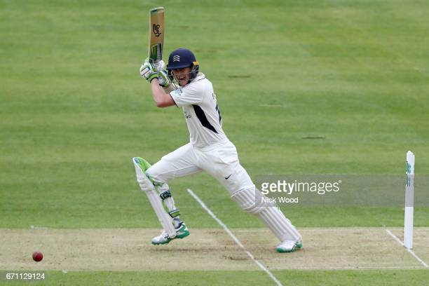 Nick Gubbins of Middlesex guides the ball to the boundary whilst batting at Lords Cricket Ground on April 21 2017 in London England