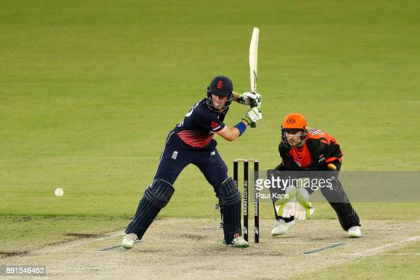 Nick Gubbins of the Lions bats during the Twenty20 match between the Perth Scorchers and England Lions at Optus Stadium on December 13 2017 in Perth...