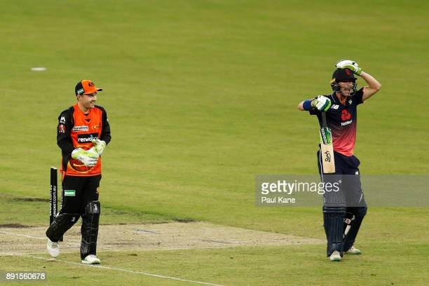 Nick Gubbins of the Lions reacts after being runout by Josh Inglis of the Scorchers during the Twenty20 match between the Perth Scorchers and England...