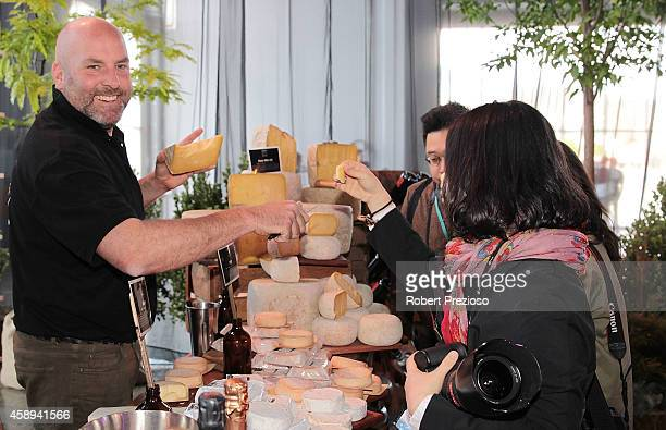 Nick Haddow from Tasmania provides local produce to guests during the Restaurant Australia Marketplace event at Macquarie Wharf on November 14 2014...