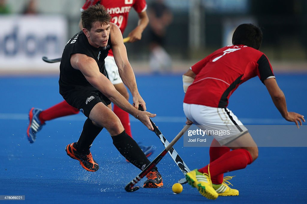 Nick Haig of New Zealand runs with the ball during the Test Match between the New Zealand Black Sticks and Japan at Blake Park on March 12, 2014 in Mount Maunganui, New Zealand.