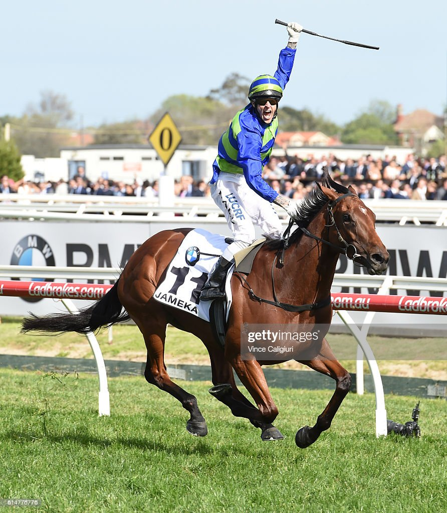 Nick Hall riding Jameka celebrates on the line to defeat Kerrin McEvoy riding Scottish in Race 8, BMW Caulfield Cup during Caulfield Cup Day at Caulfield Racecourse on October 15, 2016 in Melbourne, Australia.