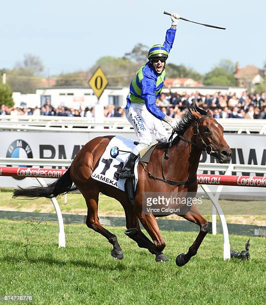 Nick Hall riding Jameka celebrates on the line to defeat Kerrin McEvoy riding Scottish in Race 8 BMW Caulfield Cup during Caulfield Cup Day at...