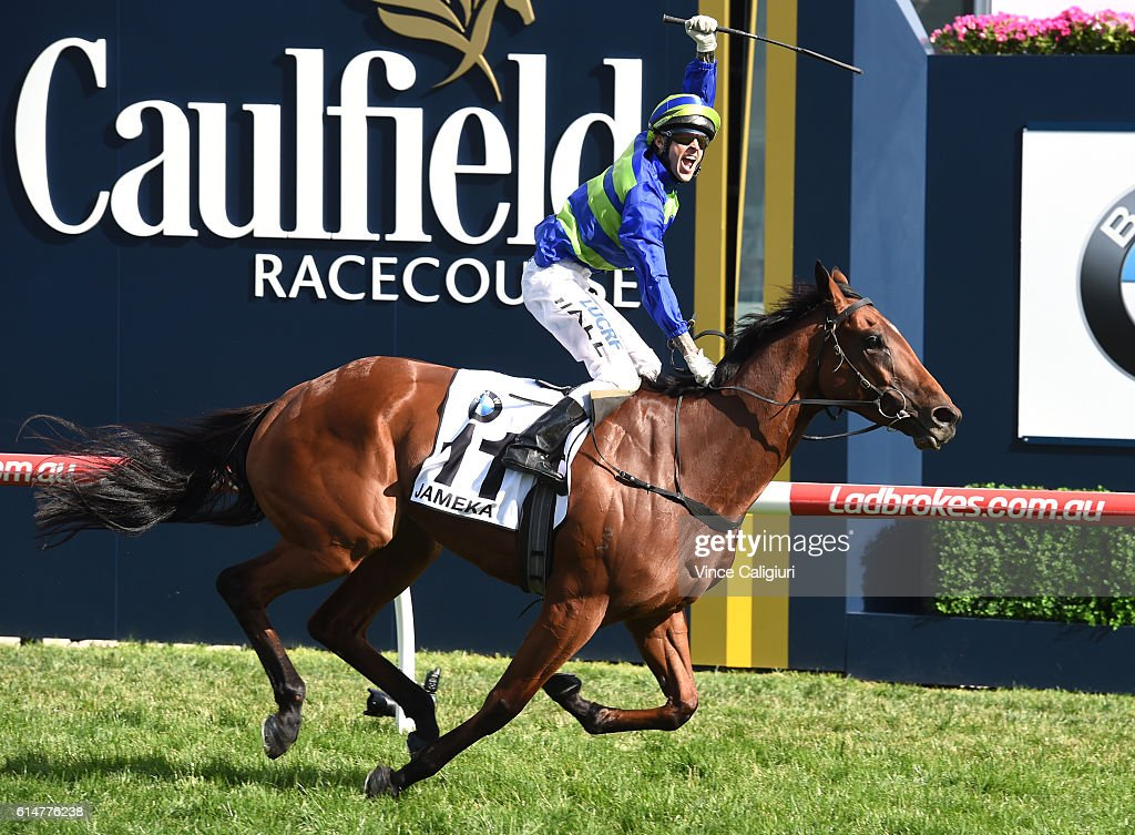 Nick Hall riding Jameka celebrates on the line to win Race 8, BMW Caulfield Cup during Caulfield Cup Day at Caulfield Racecourse on October 15, 2016 in Melbourne, Australia.