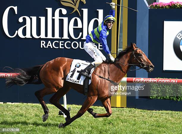 Nick Hall riding Jameka celebrates on the line to win Race 8 BMW Caulfield Cup during Caulfield Cup Day at Caulfield Racecourse on October 15 2016 in...