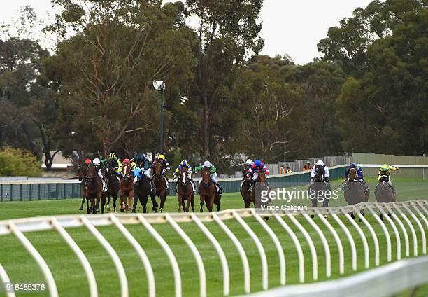 Nick Hall riding Silent Sedition wins Race 8 the Bendigo Guineas during Melbourne racing at Bendigo Racecourse on March 19 2016 in Bendigo Australia