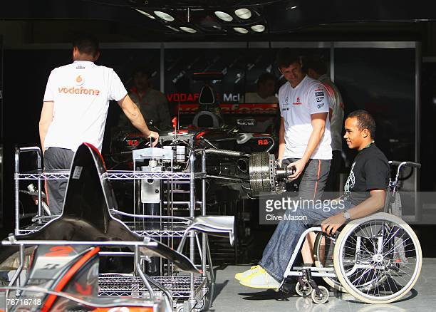 SPA FRANCORCHAMPS BELGIUM SEPTEMBER 13 Nick Hamilton half brother of Lewis Hamilton of Great Britain and McLaren Mercedes is seen during previews...