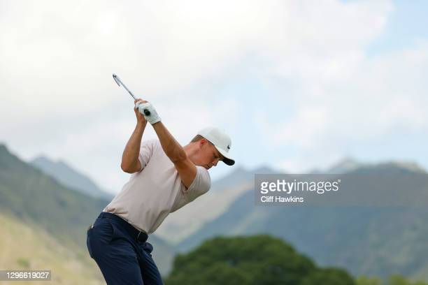 Nick Hardy of the United States plays his shot from the seventh tee during the second round of the Sony Open in Hawaii at the Waialae Country Club on...