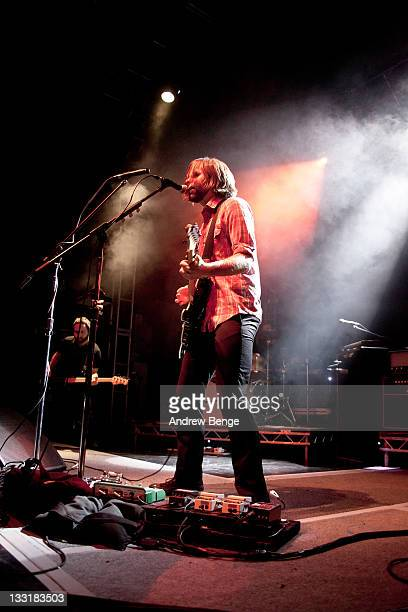 Nick Harmer and Benjamin Gibbard of Death Cab for Cutie performs on stage at O2 Academy on November 17, 2011 in Leeds, United Kingdom.