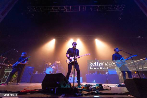 Nick Harmer, Jason McGerr, Ben Gibbard, Zac Rae and Dave Depper of Death Cab For Cutie perform on stage at O2 Academy Glasgow on January 26, 2019 in...