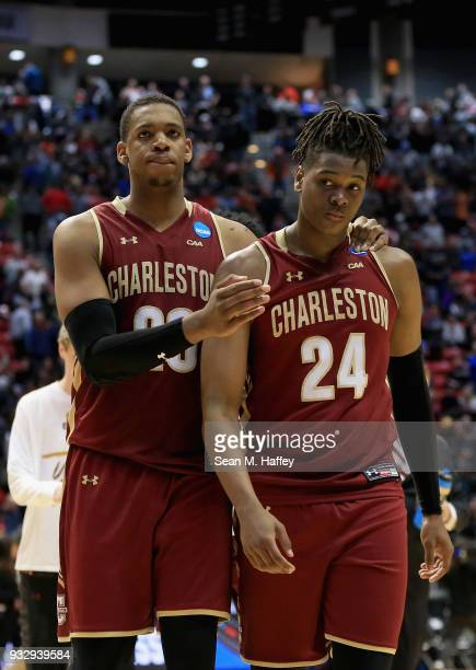 Nick Harris and Jaylen McManus of the Charleston Cougars react after their 5862 loss to the Auburn Tigers in the first round of the 2018 NCAA Men's...