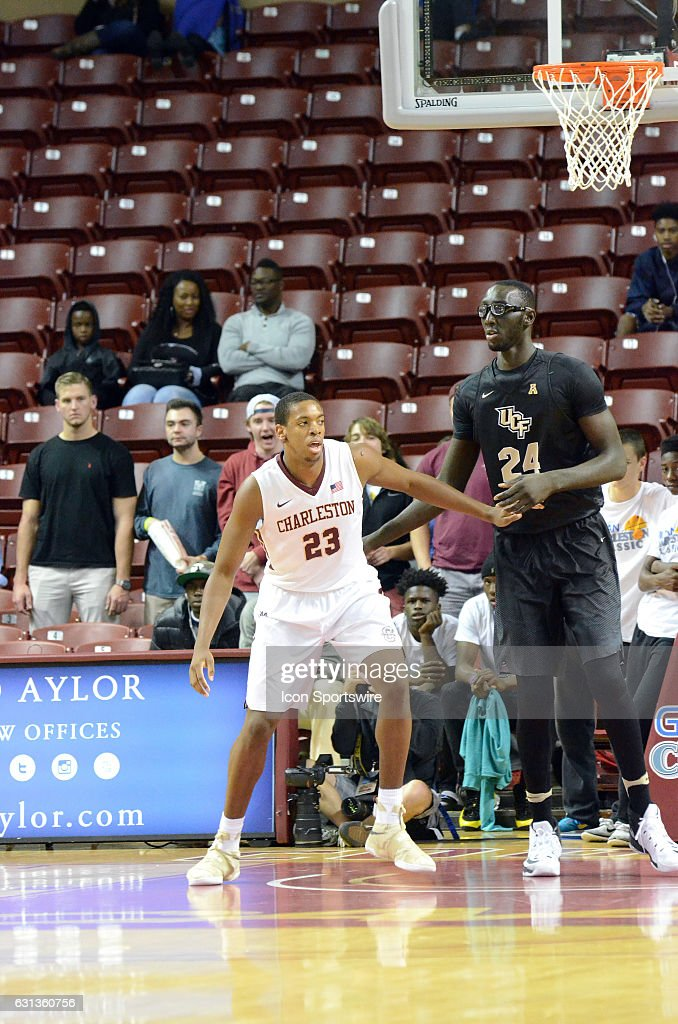Nick Harris #23 of the College of Charleston Cougars during the UCF Knights 60-40 victory over the College of Charleston Cougars in the second round of the Charleston Classic on November 18, 2016, at TD Arena in Charleston, SC.