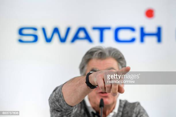 Nick Hayek CEO of Swiss watchmaker Swatch Group gestures during a press conference to present the group's annual results in Biel on March 16 2017 /...