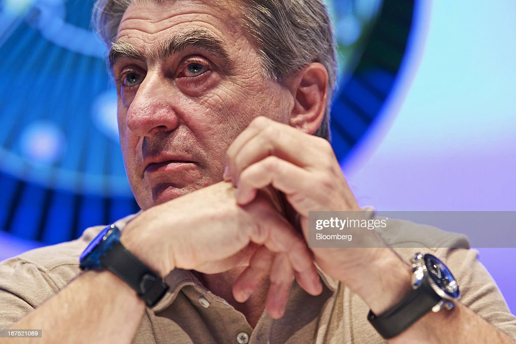 Nick Hayek, chief executive officer of Swatch Group AG, pauses during a news conference to launch the Sistem51 automatic watch movement at the Baselworld watch fair in Basel, Switzerland, on Thursday, April 25, 2013. The annual fair attracts 2,000 companies from the watch, jewelry and gem industries to show their new wares to more than 100,000 visitors. Photographer: Gianluca Colla/Bloomberg via Getty Images