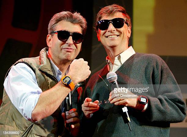 Nick Hayek Jr CEO of Swatch Group and Bill Gates chairman Microsoft Chairman/chief Software Architect show the new watch line called 'Paparazzi'...