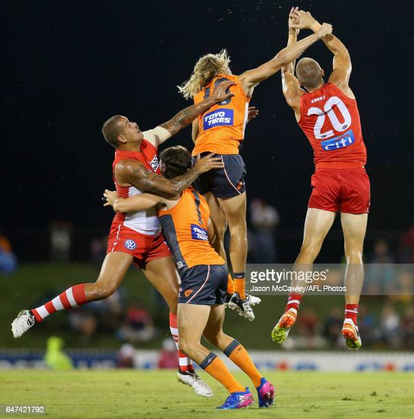 Nick Haynes of the Giants and Sam Reid of the Swans contest a mark during the 2017 JLT Community Series AFL match between the Greater Western Sydney...