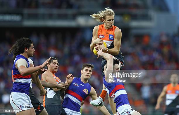 Nick Haynes of the Giants marks over the pack during the AFL First Preliminary Final match between the Greater Western Sydney Giants and the Western...