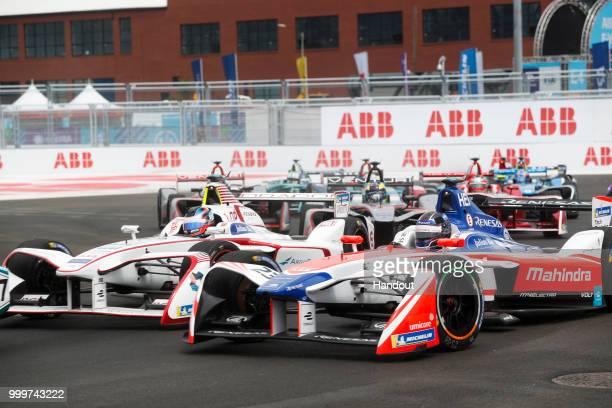 Nick Heidfeld , Mahindra Racing, Mahindra M4Electro, leads Jose Maria Lopez , Dragon, Penske EV-2. On July 14, 2018 in New York, United States.