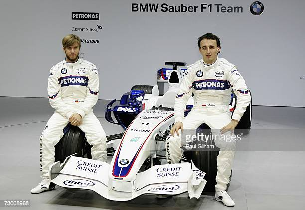 Nick Heidfeld of Germany and BMW Sauber and Robert Kubica of Poland and BMW Sauber pose for the media during the launch of the BMW Sauber F1.07 2007...