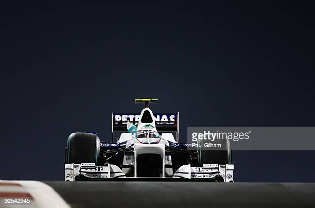 Nick Heidfeld of Germany and BMW Sauber exits the pitlane during practice for the Abu Dhabi Formula One Grand Prix at the Yas Marina Circuit on...