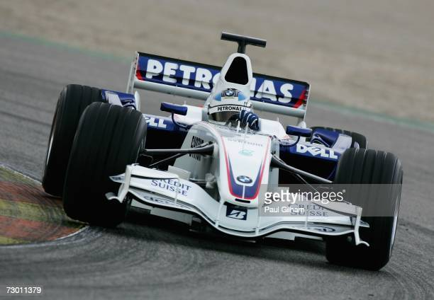 Nick Heidfeld of Germany and BMW Sauber in action following the launch of the BMW Sauber F1.07 2007 Challenger at Circuit Ricardo Tormo on January...