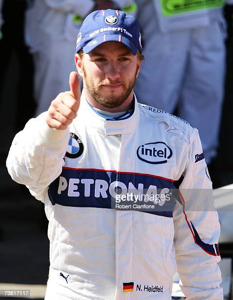 Nick Heidfeld of Germany and BMW-Sauber celebrates claming the third grid position in qualifying for the Australian Formula One Grand Prix at the...