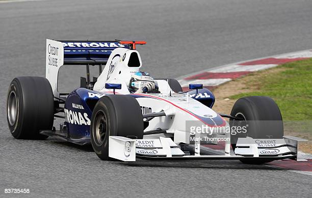 Nick Heidfeld of Germany and team BMW Sauber in action during day two of Formula One Testing at the Circuit de Catalunya on November 18, 2008 in...
