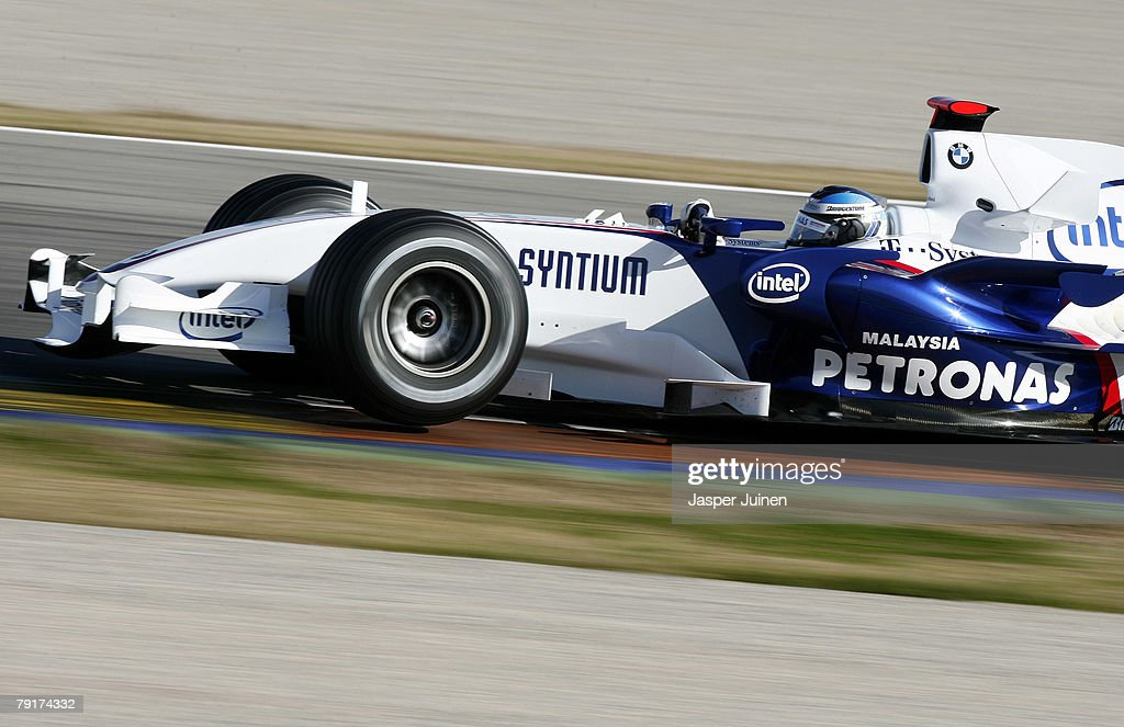 Nick Heidfeld of Germany and team BMW Sauber rounds a corner during Formula one testing at the Ricardo Tormo racetrack on January 23, 2008, in Cheste near Valencia, Spain.