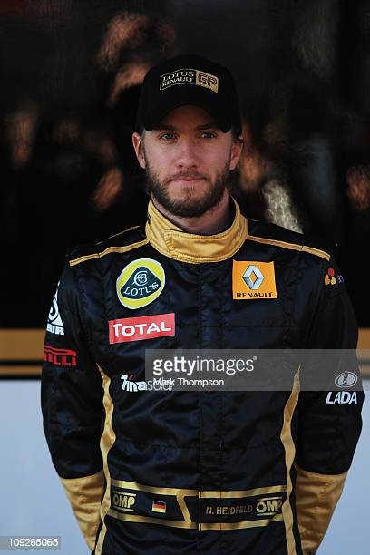 Nick Heidfeld of Germany and team Renault poses for photographers during Formula 1 testing at the circuit De Catalunya on February 18, 2011 in...