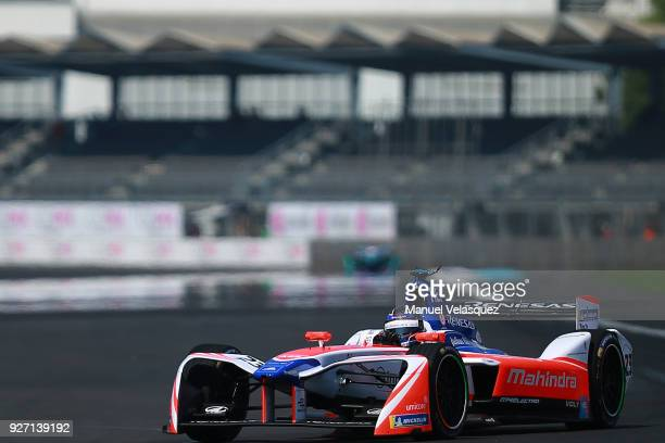 Nick Heidfeld of Germany from Mahindra drives during the Mexico E-Prix practice laps as part of the Formula E Championship at Autodromo Hermanos...