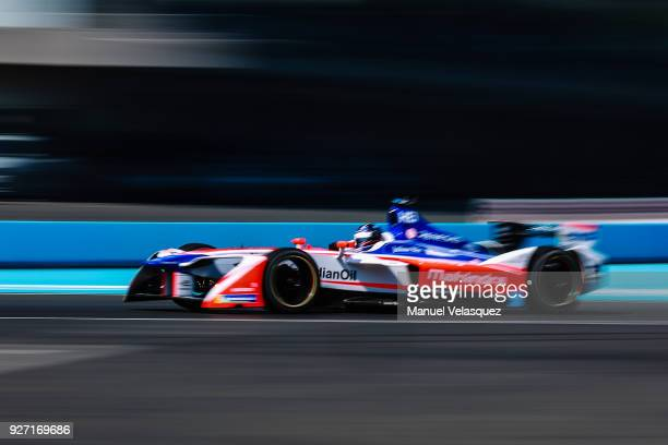 Nick Heidfeld of Germany from Mahindra drives during the Mexico E-Prix as part of the Formula E Championship at Autodromo Hermanos Rodriguez on March...