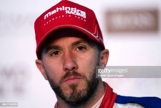 Nick Heidfeld of Germany from Mahindra Racing speaks at the press conference after the FIA Formula E Hong Kong E-Prix Round 1 at the Central...