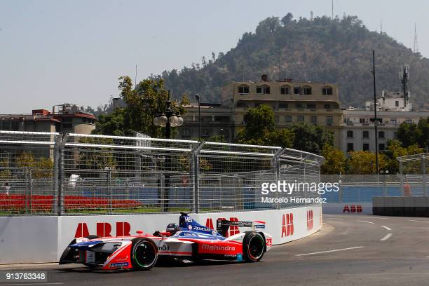 Nick Heidfeld of Germany, Mahindra Racing drives durig the qualifying laps as part of the ABB Formula-E Antofagasta Minerals Santiago E-Prix on...