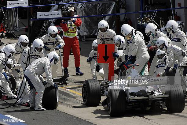 Nick Heidfeld of Team BMW Sauber is seen making a pit stop at the the Formula 1 GP of Great Britain in Silverstone UK Sunday June 11 2006