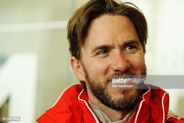 Nick Heidfield of Germany and Rebellion Racing talks to the media during previews the FIA World Endurance Championship Six Hours of Silverstone race...