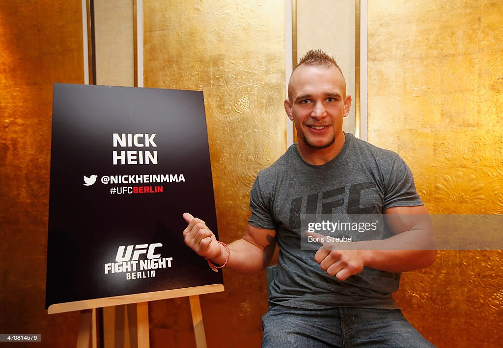 Nick Hein of Germany poses during the UFC press conference at O2 World on April 23, 2015 in Berlin, Germany.