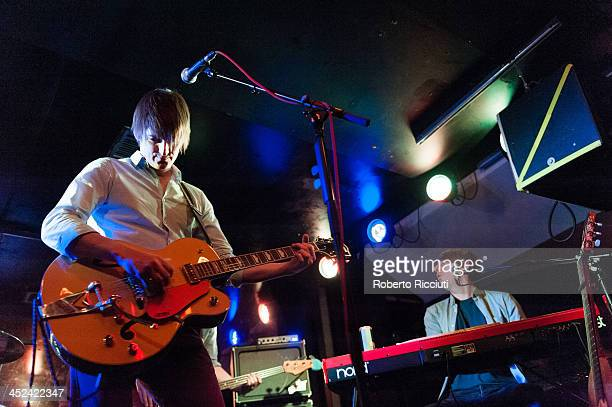 Nick Hemming and Christian Hardy of The Leisure Society perform on stage at Electric Circus on November 28 2013 in Edinburgh United Kingdom