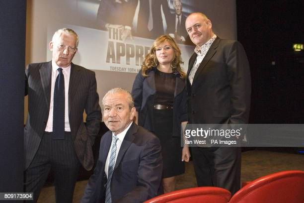 Nick Hewer Lord Alan Sugar Karren Brady and Dara O'Briain at a photocall at The Soho Hotel London to launch this year's series of the BBC programme...
