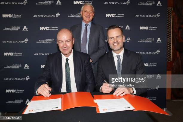 Nick Hill, Chief Executive of ATEED Auckland Mayor Phil Goff and Fred Dixon, President and CEO of NYCGO during the NYCGO & ATEED City To City Tourism...