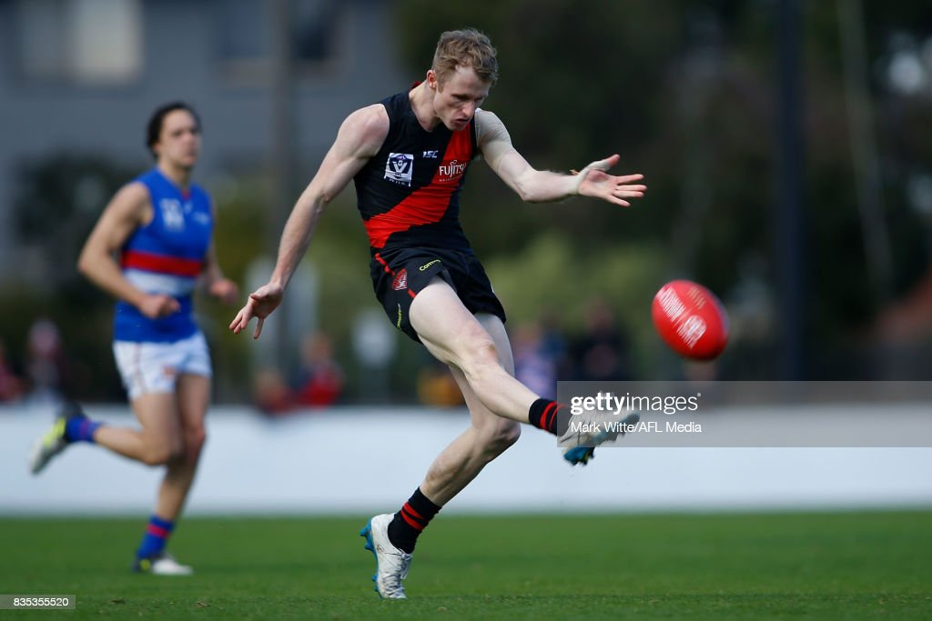Nick Hind of Essendon Bombers kicks the ball into the foward line during the round 18 VFL match between the Essendon Bombers and Footscray Bulldogs at Windy Hill on August 19, 2017 in Melbourne, Australia.