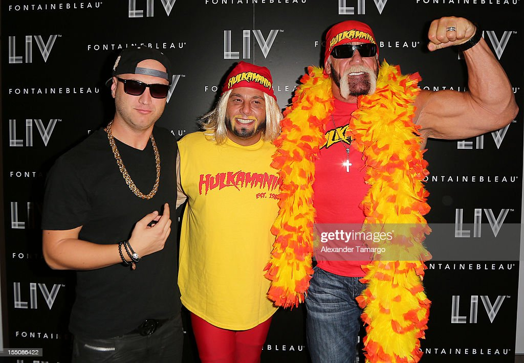Nick Hogan, David Grutman and Hulk Hogan arrive at Kim Kardashian's Halloween party at LIV nightclub at Fontainebleau Miami on October 31, 2012 in Miami Beach, Florida.