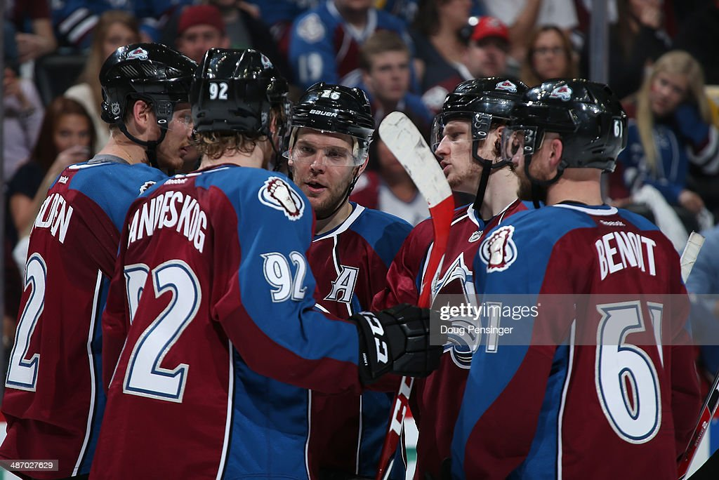 Nick Holden #2, Gabriel Landeskog #92, Paul Stastny #26, Nathan MacKinnon #29 and Andre Benoit #61 of the Colorado Avalanche talk during a break in the action against the Minnesota Wild Game Five of the First Round of the 2014 NHL Stanley Cup Playoffs at Pepsi Center on April 26, 2014 in Denver, Colorado. The Avalanche defeated the Wild 4-3 in overtime to take a 3-2 game lead in the series.
